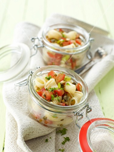 Pasta salad with a tomato and olive salsa