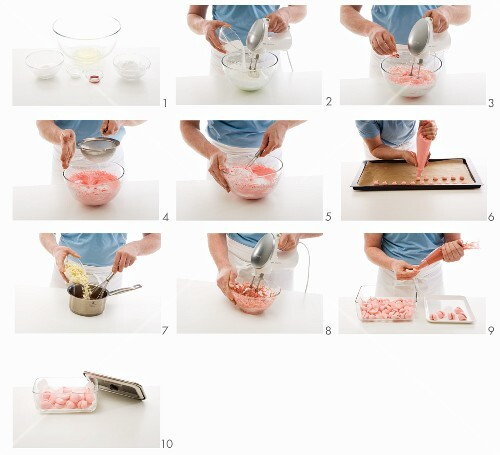 Pink meringue hearts being made