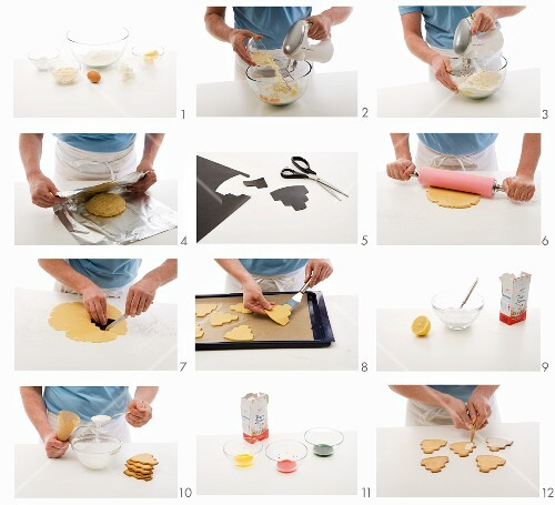 Cake-shaped biscuits being baked and decorated