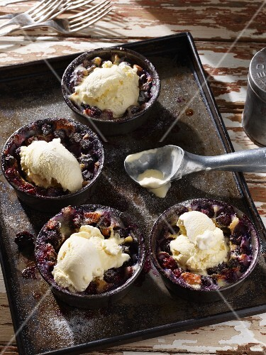 Blueberry clafoutis with vanilla ice cream