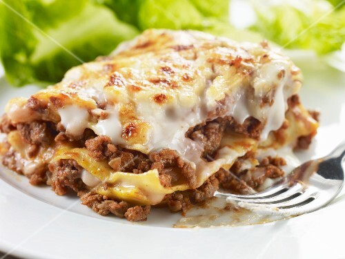 Close up of a portion of lasagne salad