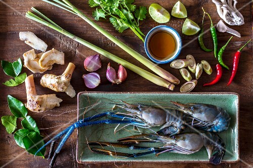 Ingredients for Thai tom yum gung