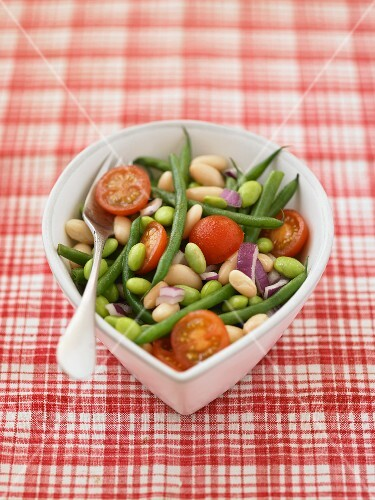 Bean, onion and tomato salad