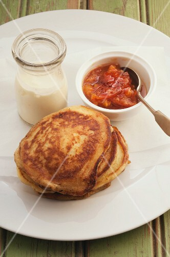 Ricotta pancakes with persimmon conserve