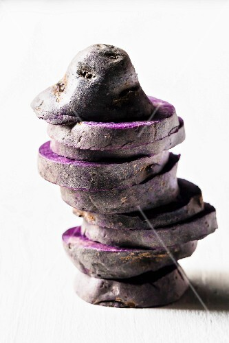 Purple potatoes, sliced