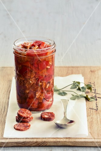 Pickled peppers with chorizo and chilli