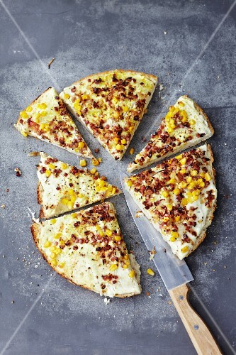 Tarte flambée with bacon and sweetcorn