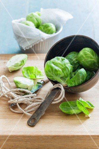 Brussels sprouts in a vintage saucepan