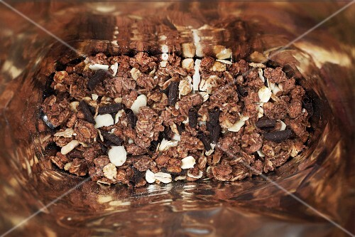 Chocolate muesli in a bag