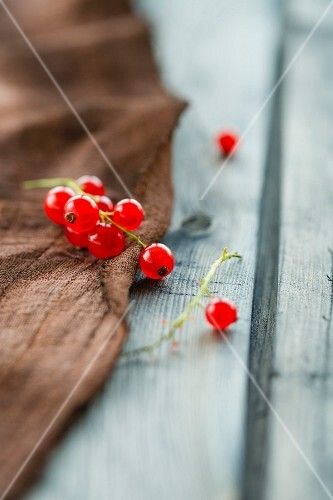 Redcurrants on a brown cloth