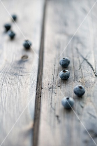 Blueberries on a wooden board