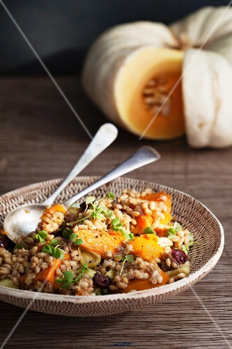 Barley and pumpkin salad with cranberries