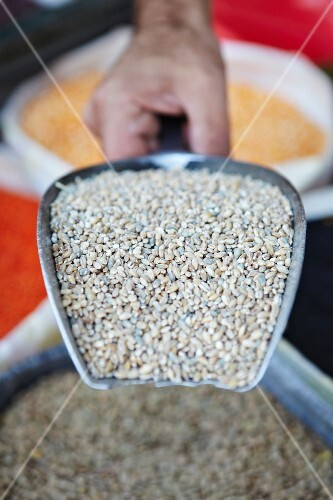 A hand holding a scoop of bulgar wheat at a market stall