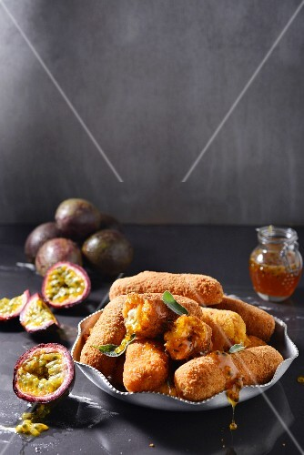 Sweet potato croquettes with granadilla syrup