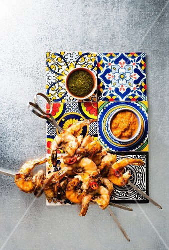 Chicken and prawn skewers with dips