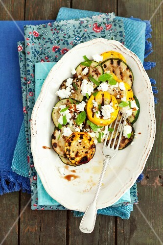 Grilled courgettes with feta, mint and a balsamic dressing
