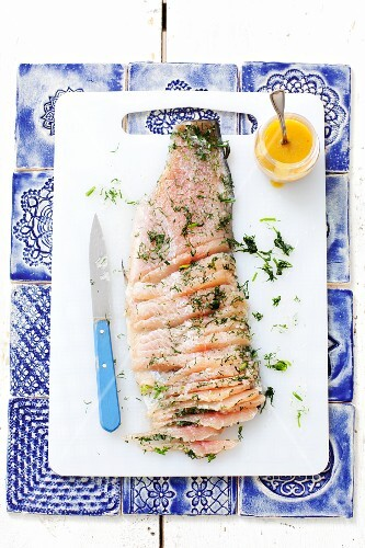 Trout in herb salt with dill and a honey mustard dressing