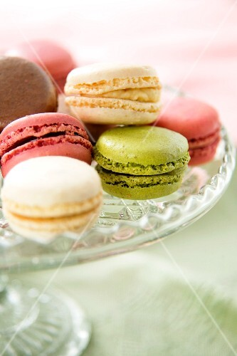 Various macaroons on a cake stand