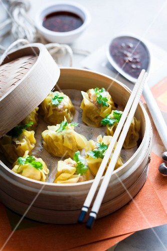 Steamed wontons filled with pork
