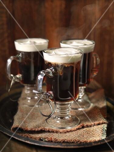 Steaming Irish coffee