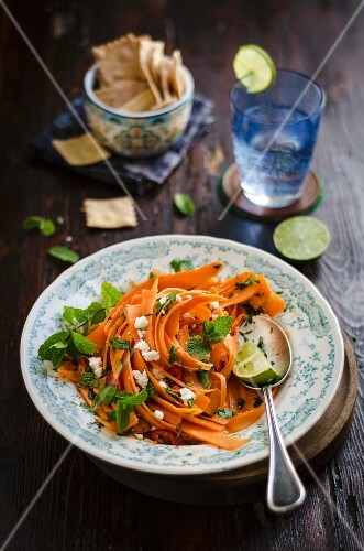 Carrot salad with mint, feta and chilli