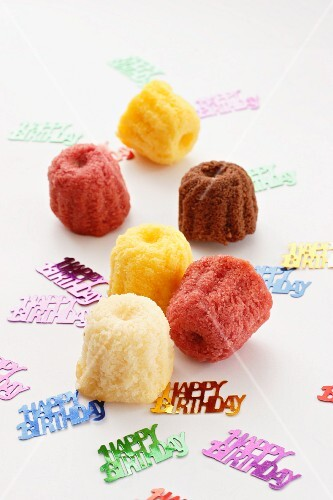 Colourful mini Bundt cakes for a birthday party