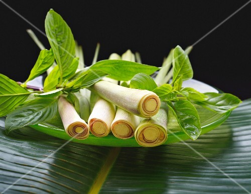 Fresh lemongrass and Thai basil