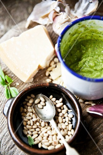 Pesto and ingredients