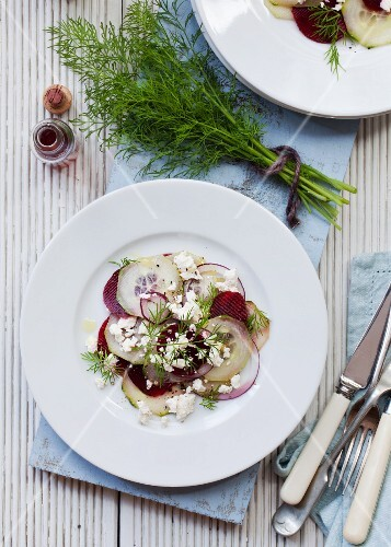 Beetroot salad with cucumber and red wine vinegar