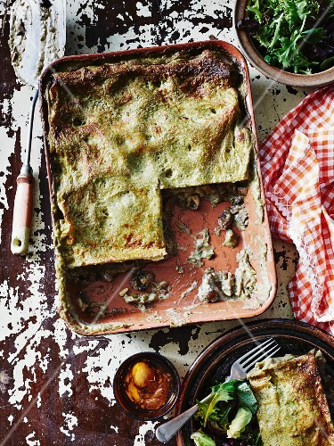 Mushroom and pesto lasagne with salad