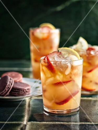Iced tea with lychees and strawberries