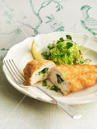 Chicken kiev with a herb salad