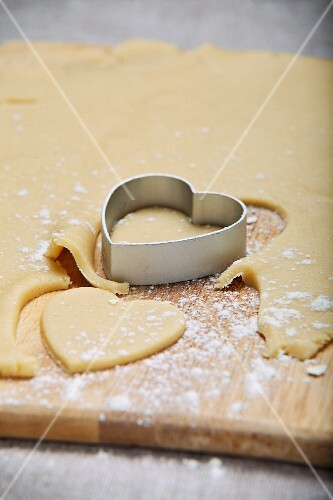 Shortbread pastry hearts being cut out