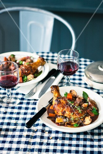Cog au vin (Chicken in wine, France)