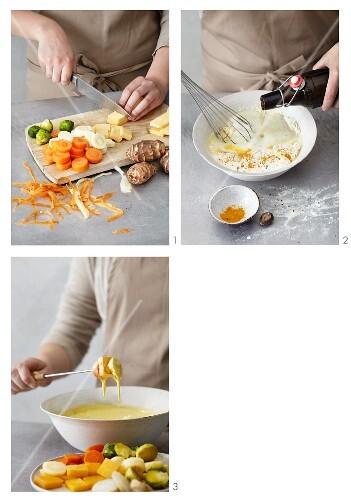 Vegetable tempura being prepared