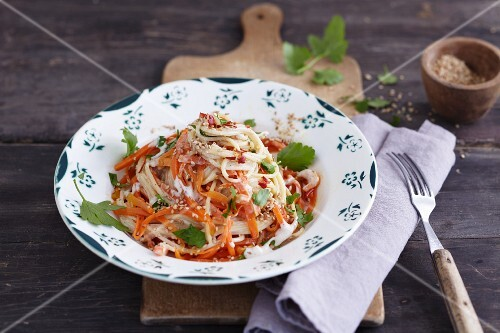 Carrot and hazelnut spaghetti
