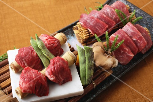 Raw wagyu beef on bamboo (Japan)