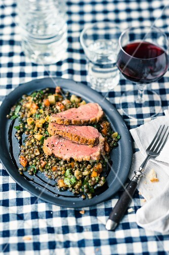 Duck breast on a lentil salad