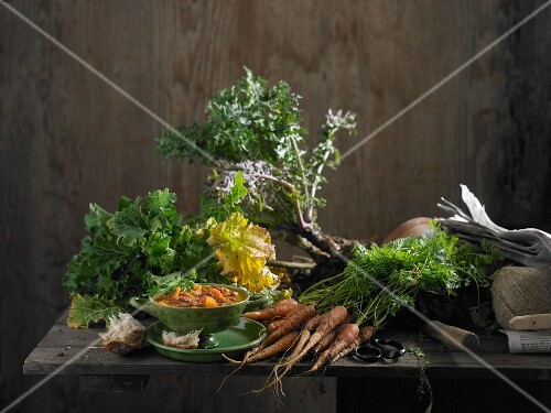 An arrangement of freshly-picked green kale and carrots with bowl of carrot soup