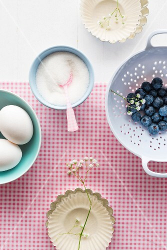 Blueberries, sugar and eggs