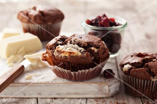 Chocolate muffins with cranberries