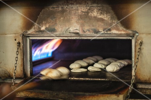 Unleavened bread in an oven