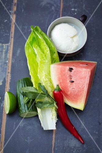 Ingredients for lettuce rolls with melon