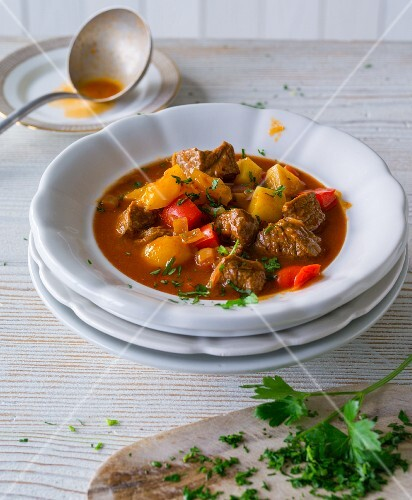 Goulash soup with peppers
