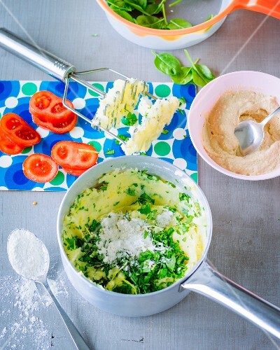 Veggie burgers with chickpea cream being made