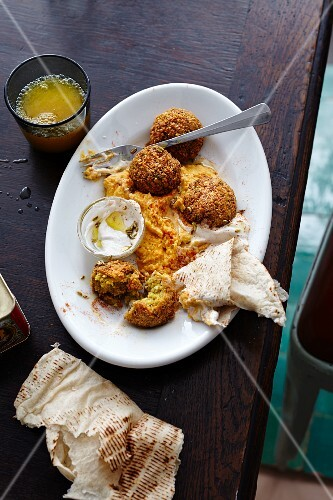 Falafel with carrot hummus