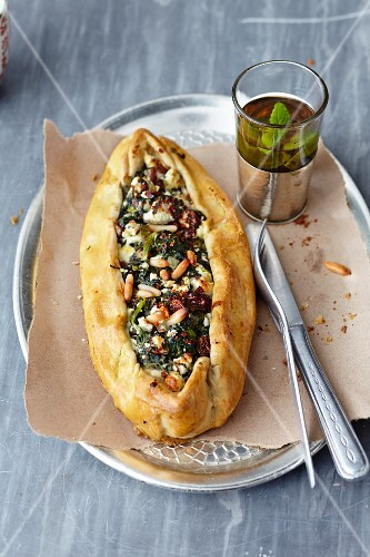 Pide with spinach and feta cheese (pastry parcels, Turkey)