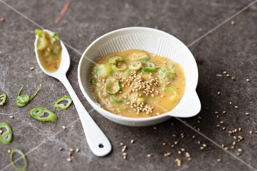 Miso dip with spring onions and sesame seeds