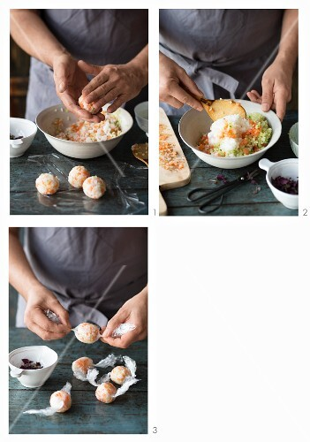Sushi balls with smoked salmon being made