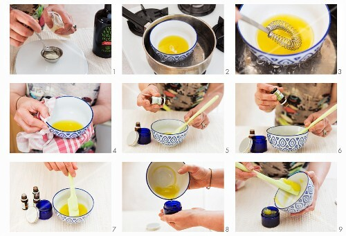 A balm made from bees' wax, olive oil and essential lemon oil being made